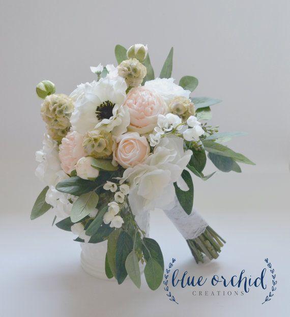 Bouquet da sposa, Bouquet - Bouquet da Sposa Bouquet, Bouquet di seta, fiore di seta, Boho Bouquet di seta, seta Wedding Bouquet, Anemone, Blush