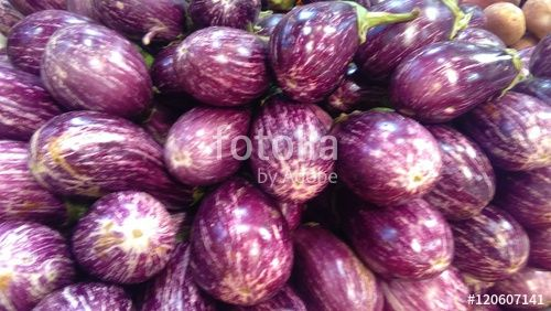 """""""Eggplants with stripes purple and white at the market. """" creata da morgan capasso"""