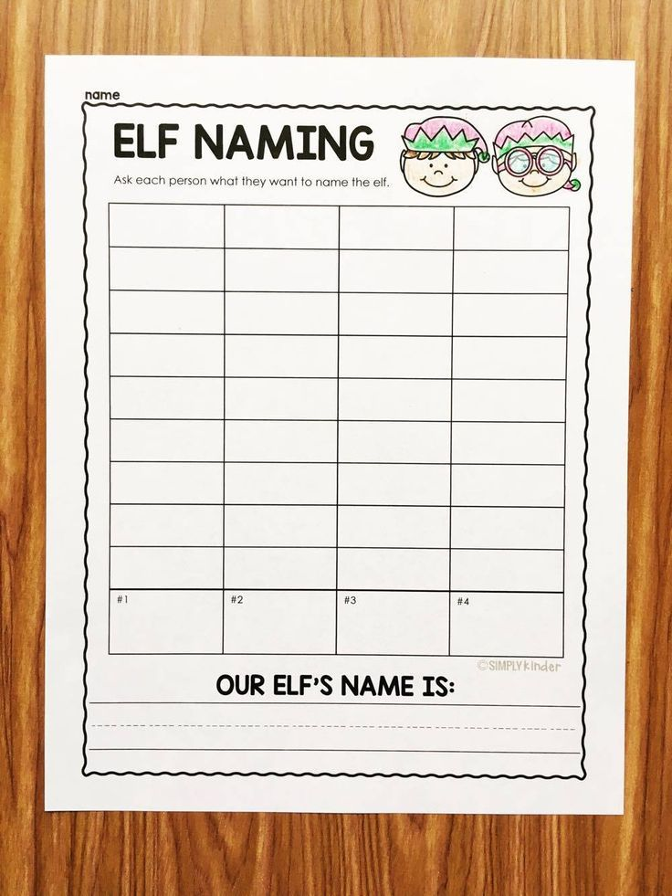 Elf Naming Survey. A free printable from Simply Kinder that reinforces literacy and math.