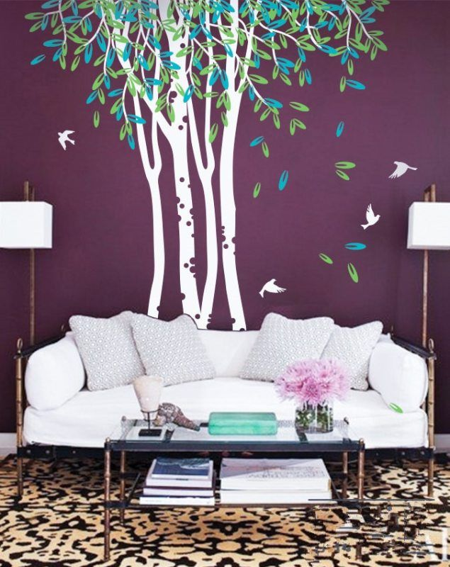 large birch trees ceiling high wall mural forest scene sofa art
