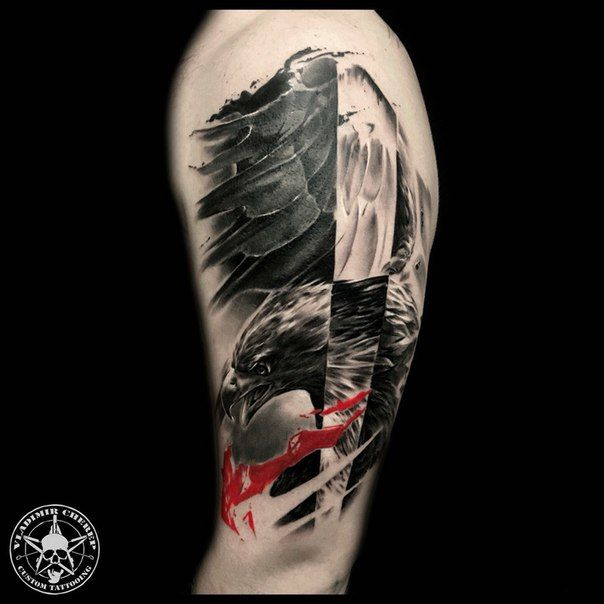 Image result for trash polka eagle with stars tattoo