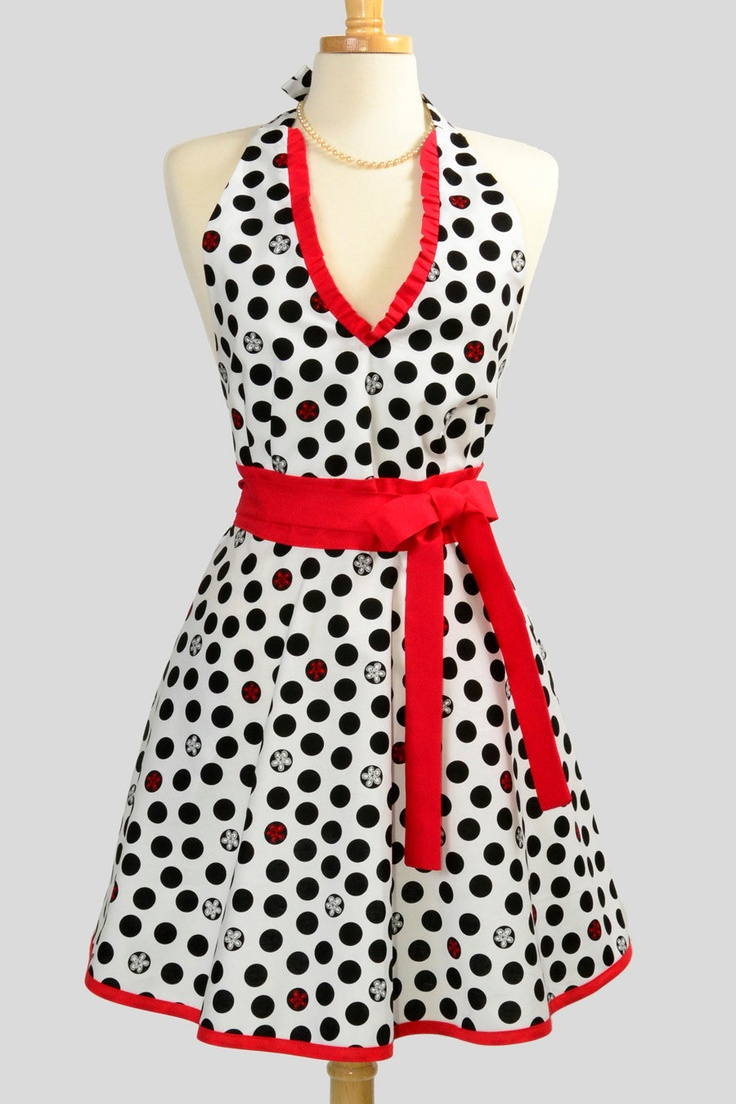 The white apron newport beach - Womens Halter Hostess Apron Classy Apron Black Dots And Red And White Flowers In Black Dots All On White