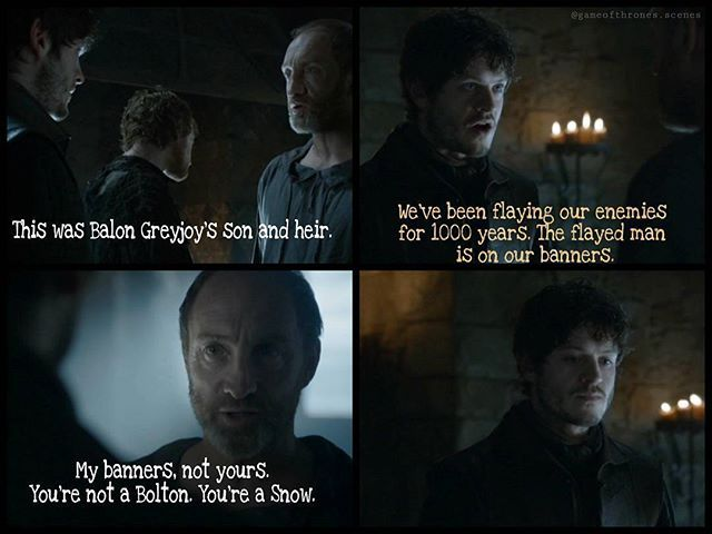 "Ramsay introduces Reek to his father and he - is a bit shocked. He wanted to have Theon, so they can fight against the Greyjoys and having a ""joker"" for this fight. But Theon is not existing anymore, only a flayed man who is very afraid of everything. Ramsay says, that the Boltons flayed their men for a very long time. Roose nicely remembers him, that he is no Bolton. --- Oh oh - Ramsay's face  --- Another nice account (@hot_news_of_got) got deleted lately by instagram and is now back w..."