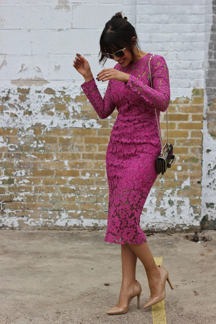 A neon pink lace sheath dress couldn't possibly come across as other than strikingly elegant. Finish off your look with tan leather pumps.  Shop this look for $94:  http://lookastic.com/women/looks/hot-pink-sheath-dress-multi-colored-clutch-tan-pumps-black-and-gold-sunglasses/6813  — Hot Pink Lace Sheath Dress  — Multi colored Beaded Clutch  — Tan Leather Pumps  — Black and Gold Sunglasses
