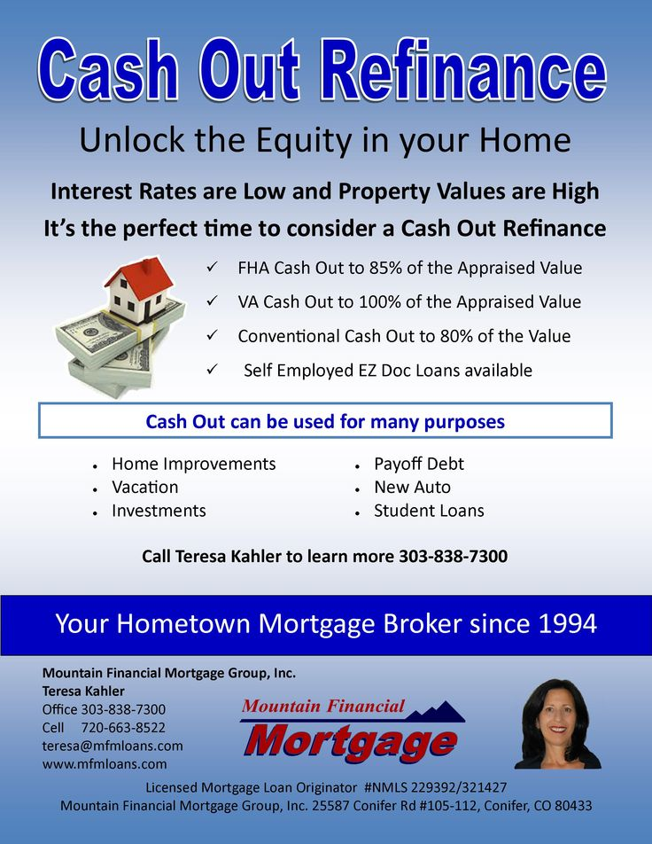 Cash Out Refinance Residential Home Loans Cash Out