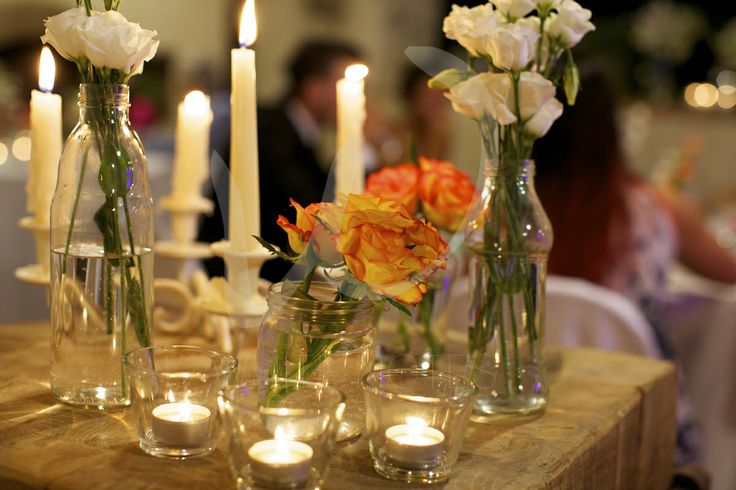 Wedding candles and flowers. As easy as pie.