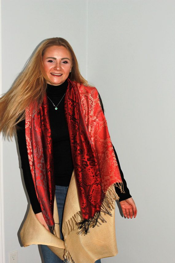 Red and Beige cover up by LLCozyCorner on Etsy