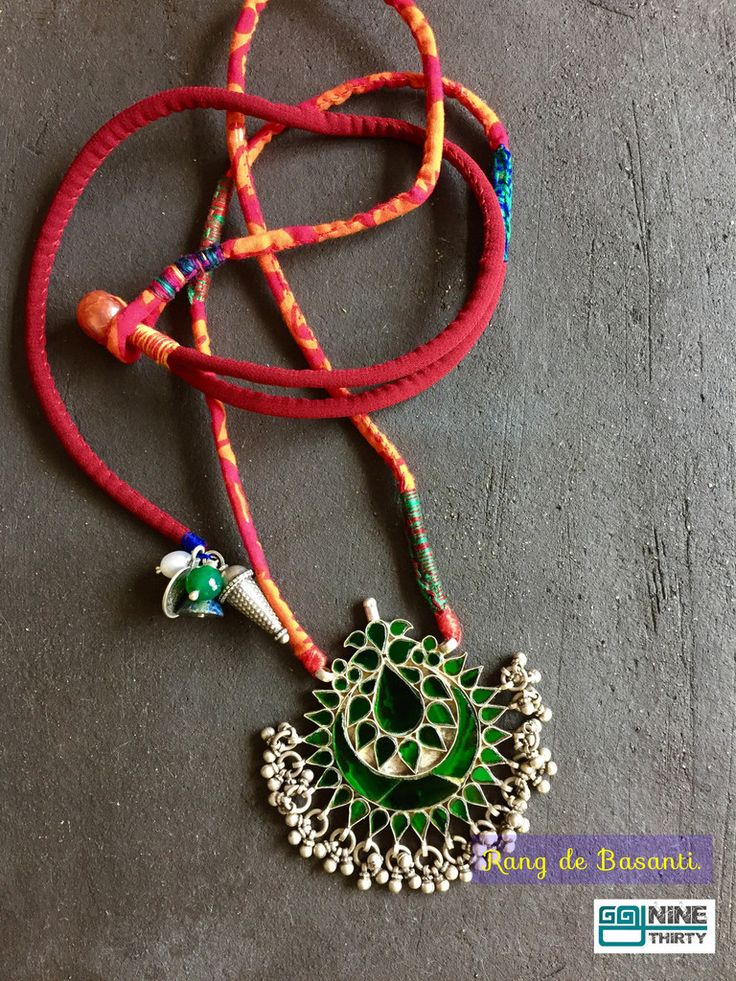 Cotton fabric and Rajasthani glass pendant on silver with a dangle on the side. Nine by Thirty : Pinned by Sujayita