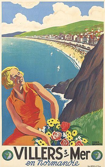 Roger Broders (1883-1953): Villers sur Mer 1933  - for more inspiration visit http://pinterest.com/franpestel/boards/