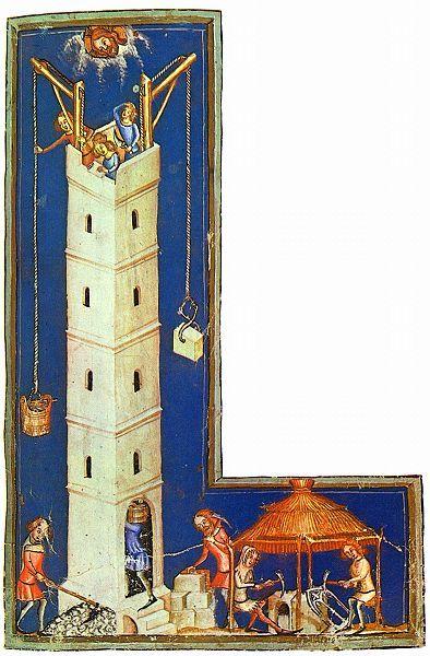 Meister der Weltenchronik, Construction of the Tower of Babel, c. 1380