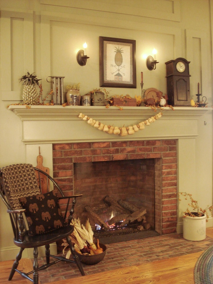 The hearth in Loretta's kitchen is a perfect place to sit and enjoy the warmth of the fire on a cool autumn day.
