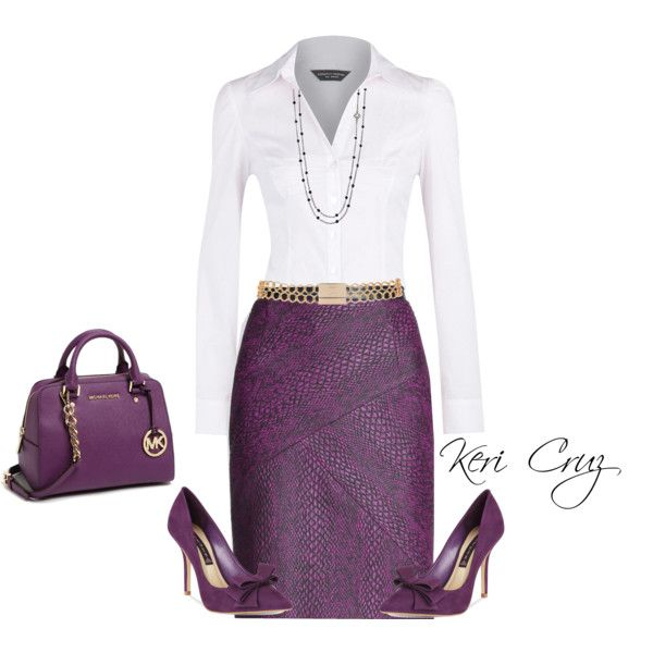 Great outfit for work: deep purple snakeskin skirt with white blouse. No purple purse though - too much matching.