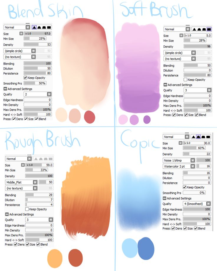 Sai Brush Settings [1] by SkyFlamia on Wysp ★ || CHARACTER DESIGN REFERENCES…
