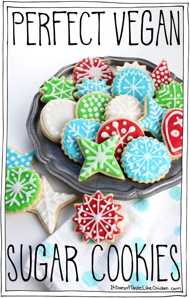 Perfect Vegan Sugar Cookies! Easy cut-out cookies that are the best for any occasion. The holidays, Christmas, Valentines, or anytime you might want to decorate a cookie! Fun activity for kids. #itdoesnttastelikechicken
