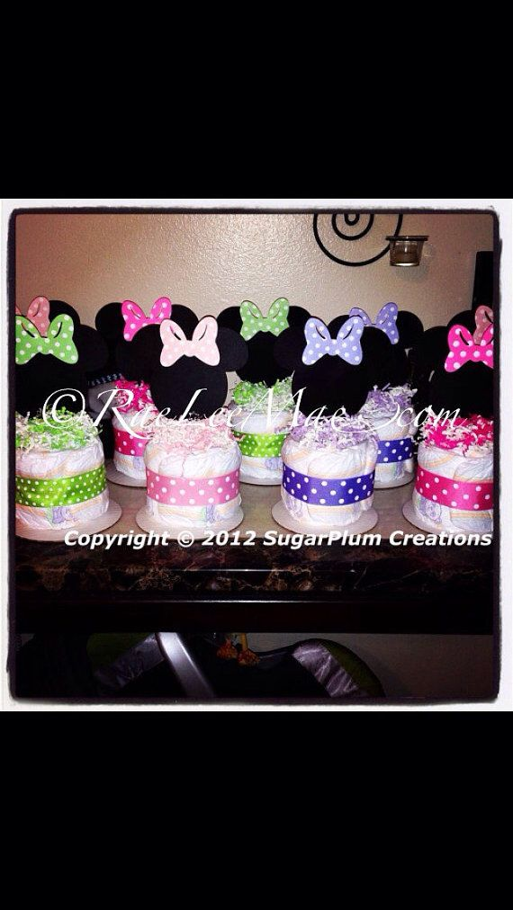 Minnie Mouse Diaper Cake Minis  Baby shower by RaeLeeMaeCreations