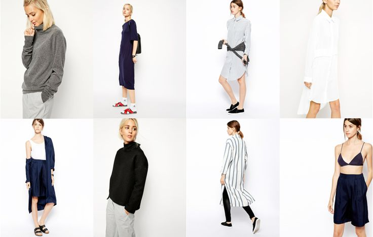 Cashmere roll neck, £95 / Pleat back midi dress, £55 / Silk pinstripe shirt dress, £95 / Chiffon shirt dress, £75 / Navy silk duster coat, £95 / Textured funnel neck, £70 / Pinstripe duster coat, £125 / Silk bralette, £30