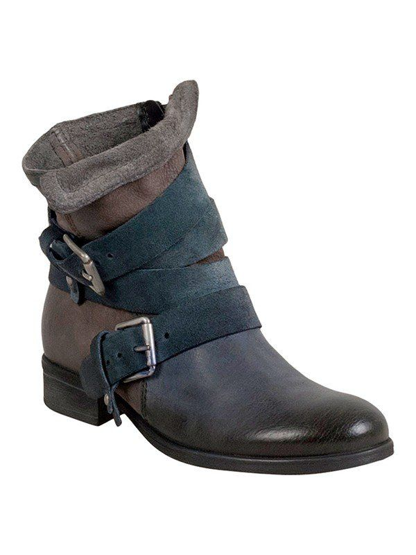The Miz Mooz Slater boot provides the perfect slouchy look with a combination of soft suede and leather along with decorative straps and buckles.