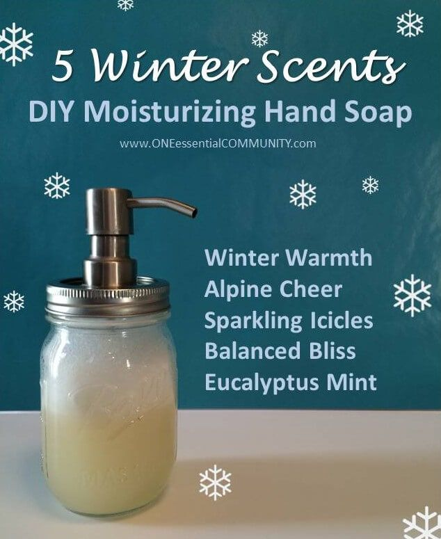 It's so easy to make your own foaming soap! All you need are a few ingredients, and in about 1 minute, you can whip up an {all-natural} moisturizing foaming hand soap. Try all 5 of these Wonderful Winter scents: Winter Warmth, Alpine Cheer, Sparkling Icicles, Balanced Bliss, and Eucalyptus Mint