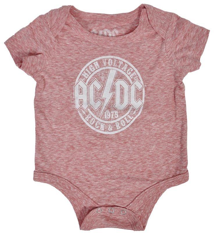 AC/DC Infant T-Shirt Romper Heather Red Classic Rock Logo Print