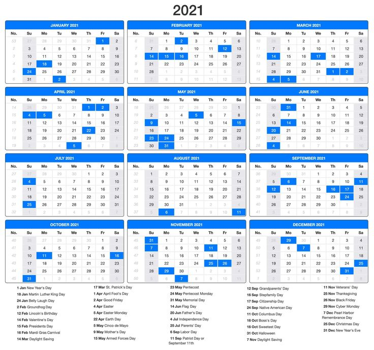 Free Printable 2021 Calendar Excel, Word, Monthly Template ...