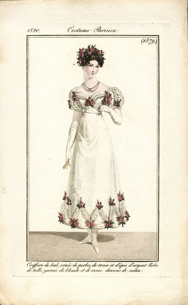 Regency fashion plate the secret dreamworld of a jane austen fan - Antique Hand Colored 1820 French Fashion Engraving Costume Parisien