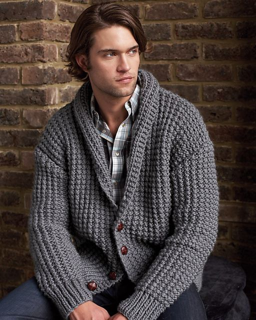 Ravelry: #24 Men's Broken Rib Cardigan pattern by Debbie Bliss