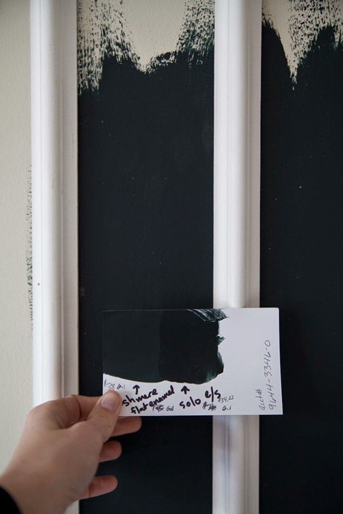 Farrow & Ball's Black Blue.  I love the depth the shade has – the inky blue leans black but has the warmth of a deep navy.  The sample was rich and the coverage was incredible.  But it has some downsides for me: like its $95 a gallon price tag and the fact that it ships from another country. I wasn't convinced that any other paint could provide the depth this paint did, but Micah took it to Sherwin Williams to be color matched, and I have to say…it's dead on.