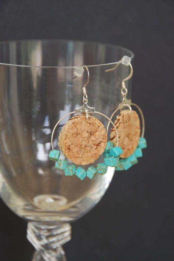 Magnesite Wine Cork Beaded Hoop Earrings by GulfCoasters on Etsy, $11.00