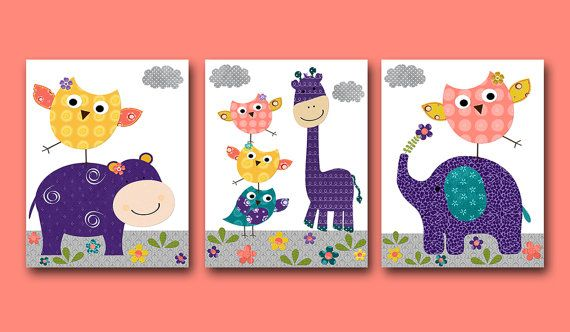 Elephant Giraffe Owl Baby Girl Nursery art print Kid Wall Art Baby Room Decor set of 3 8x10 elephant giraffe owl nursery hippopotamus purple