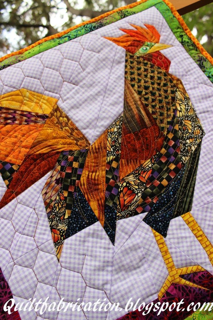 Quilt Fabrication: Fred, the Fugitive! love the chicken wire quilting - maybe use on the chicken table runner: