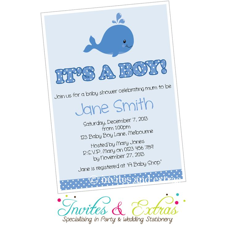 whale boy baby shower invitation personalized printable m2m code 7