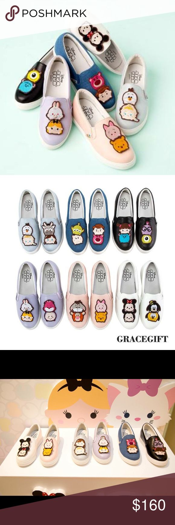 Disney tsum taum slip on shoes Pre-order only! These are Disney tsum tsum collaborate with Taiwanese famous shoe brand Grace Gift. Comes with tsum tsum tote bag (random), and mug. Please let me know which one and which size you would like to purchase, I'll make a new listing for you. Please allow 2-3 weeks international shipping time. Shoes