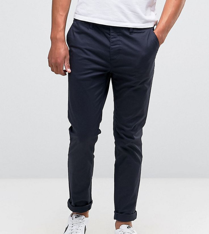 ASOS TALL Slim Chinos in Navy - Navy