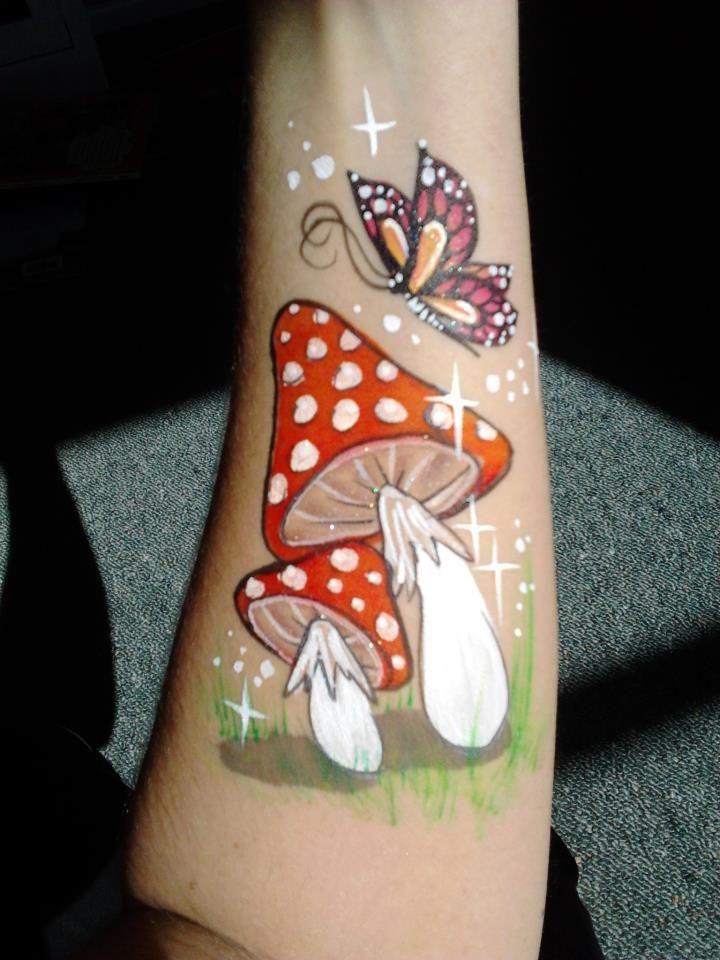 Fairy mushrooms face / body painting