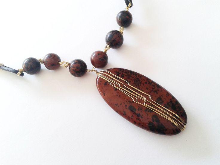 Charm- & Bettelketten - Mahagoni Obsidian Anhänger - ein Designerstück von tizianat bei DaWanda
