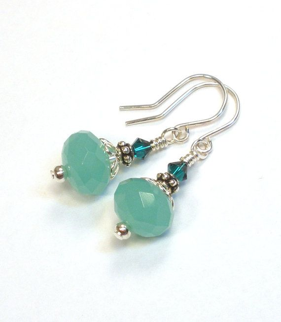 Green Crystal Sterling Silver Earrings
