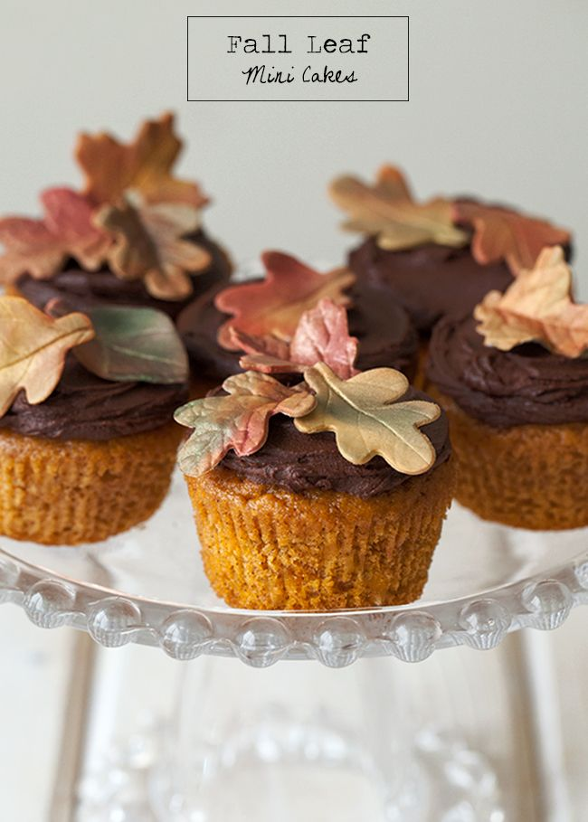 Cake It Pretty: Fall Leaf Mini Cakes Tutorial by Bird's Party #fall #leaf #cakes
