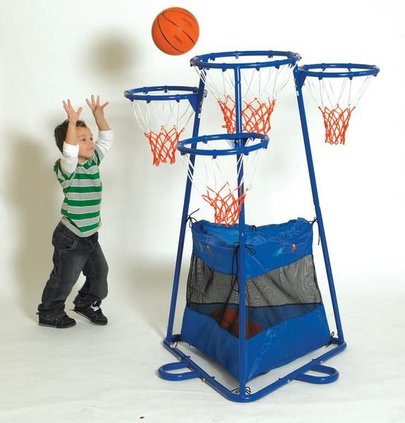 "4- Rings Basketball Stand with Storage Bag: Metal Basketball stand with 4 hoops ( one 18"" dia and 3 16"" rings) at different height. For ages 3 years and up. The"