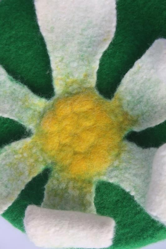 Lone Daisy.  By Gill Brooks  Handmade wool felt wall art.