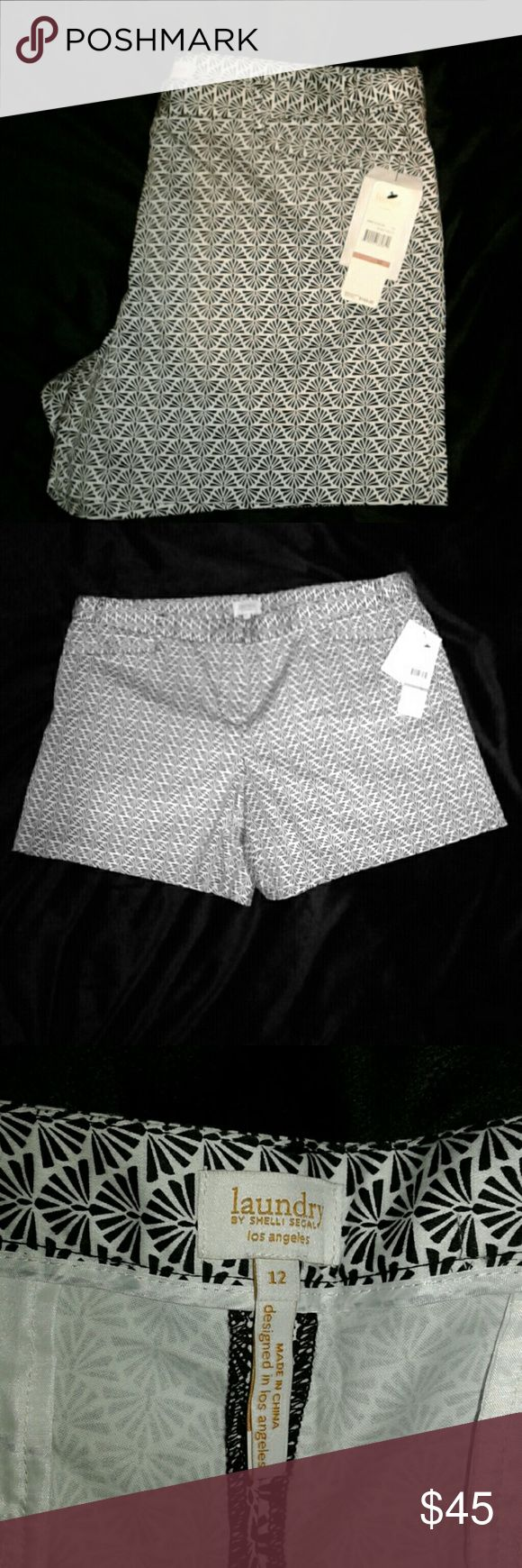 NWT laundry by Shelli Segal shorts NWT size 12 black and white design, laundry by Shelli Segal. Original price 169.00. Laundry by Shelli Segal Shorts
