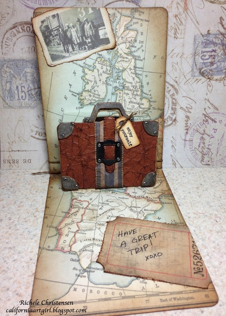 Fantastic pop-up card featuring the Pop 'n Cuts Suitcase insert and companion Bigz Suitcase die. Richele Christensen: Journey Pop 'n Cuts Card