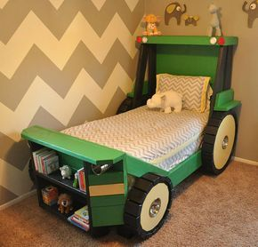Tractor Bed PLANS (in digital format) - perfect for a toddler farm themed (or construction themed) room! Help your little boy or girl transition from the crib into a bed he or she will actually enjoy sleeping in. Imagine that. Theyll love it! This digital document is a design guide with