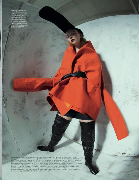 """LOVE Magazine Issue 17 Spring 2017, """"Head Boys - A Maison Margiela Story for the LOVE Magazine"""", Maison Margiela Artisanal by John Galliano, Look 1 from Fall 2016 collection (with hat from Look 19).  Photographer Tim Walker, Creative Director John Galliano, Fashion Editors Alexis Roche & Katie Grand, styled by Charles Jeffrey & Matty Bovan. Model Lily Nova. Make-up by Lucy Bridge & Hiromi Ueda."""