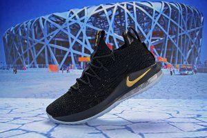 1da1ef0fc2c Mens Nike LeBron 15 Basketball Shoes Low Black Gold AO1756 606 ...