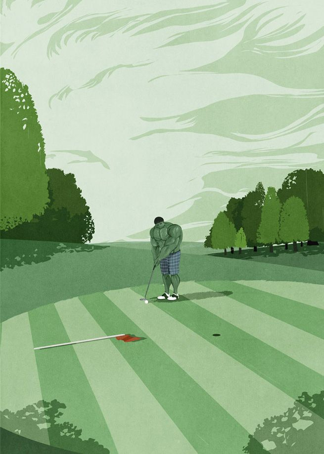 GREEN ::: Illustration by SHOUT for Golf Digest ::: http://www.dutchuncle.co.uk/shout-images