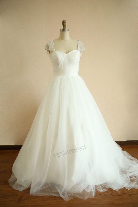 Reem Acra Inspired Tulle Wedding Dress Pearl Beaded by misdress