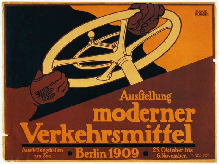Ausstellung moderner Verkehrsmittel / poster  Creator: Julius Klinger (Austrian graphic designer, 1876-1942)  Date: 1909