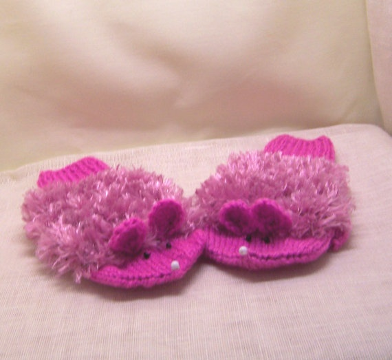 Handknitted Cute Kid's Mouse Mittens Children Mouse by evefashion, £11.00