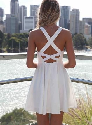 White Dress with Cross Open Back & Lace Bodice, Dress, open back lace dress, Chic