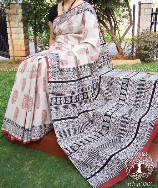 Beautiful Bagru Block Printed Cotton Saree